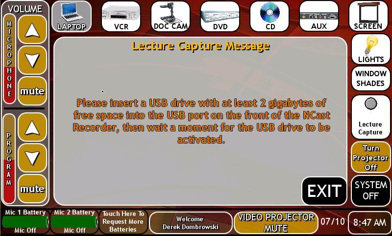 image lecture capture USB storage