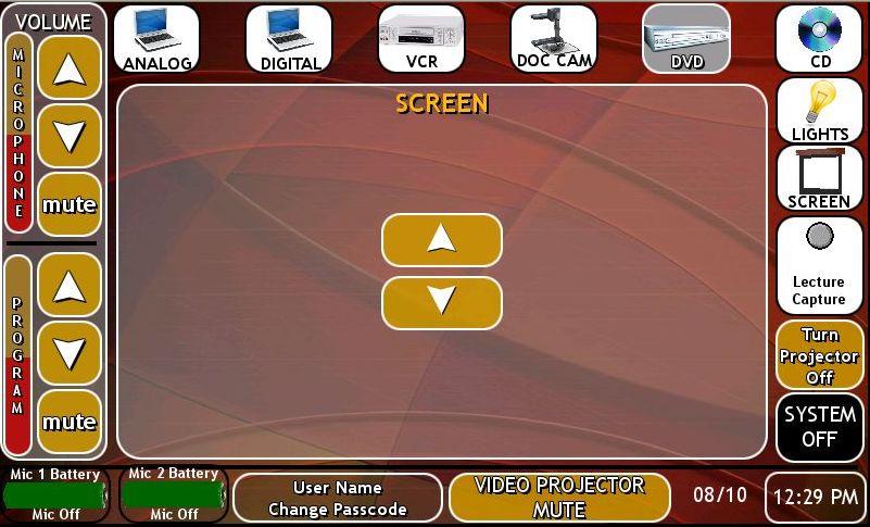 image TP screen controls